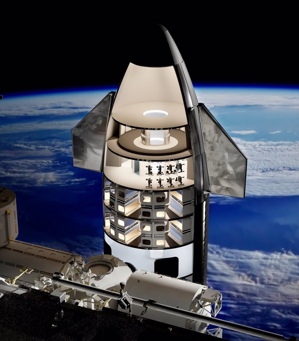 SpaceX's Starship interior concept by Erik Corshammar (ErcX) & smallstars - docked to ISS
